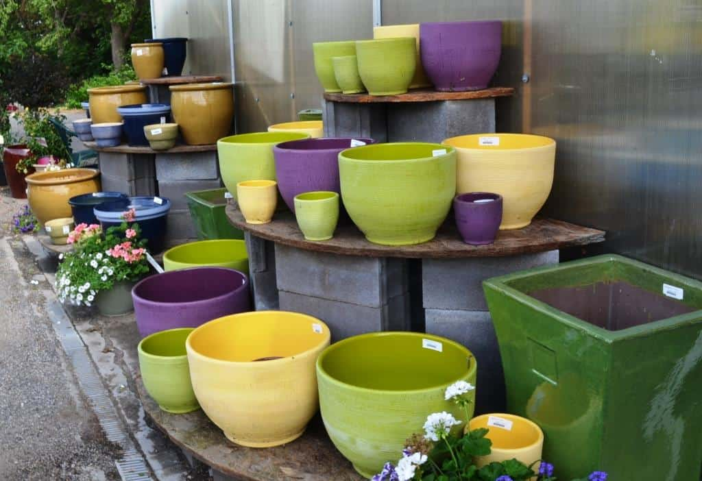 There are a variety of colors, shapes, and sizes of pots to plant your edibles in.