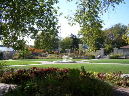 KSU Gardens is a series of rooms divided by open lawns and a fountain.