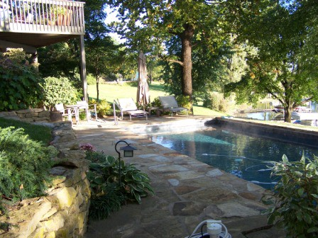 Poolside plantings and patio give a relaxing natural setting for swimming.