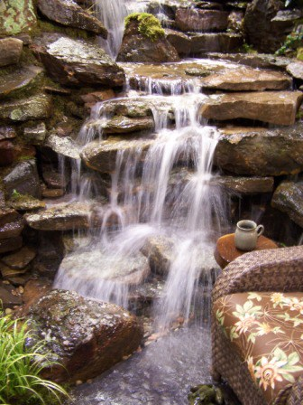 """Most water features tend to have a lot of boulders and rock, which require a softening of the heaviness."""