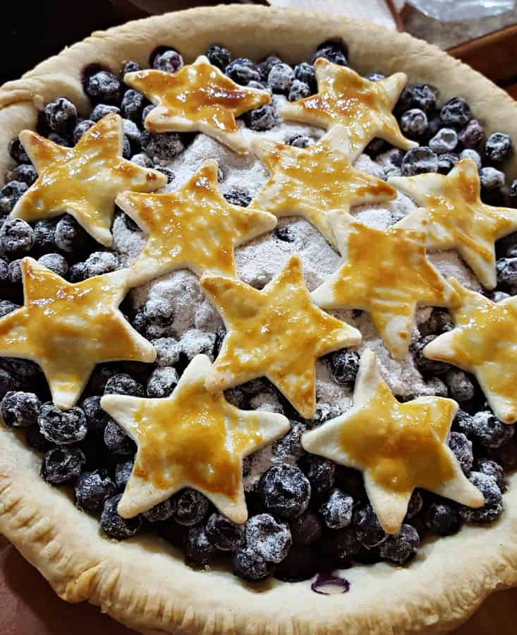 Blueberry lavender pie with stars