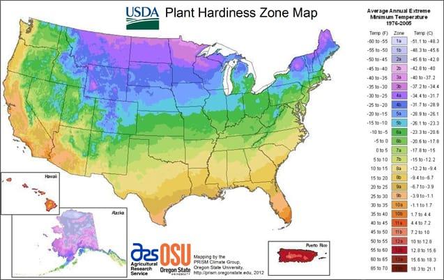 USDA Plant Hardiness Map