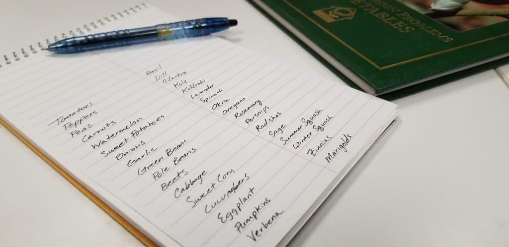 Garden planning list